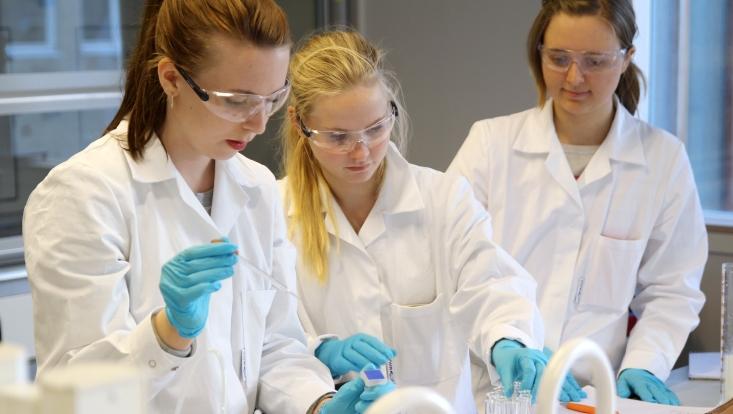 Eine Gruppe von drei Schülerinnen führt ein Experiment im Chemieunterricht durch.
